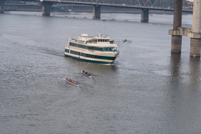A Portland Spirit cruise ship comes close to rowers on the Willamette River on Oct. 29. (Photo courtesy Jordan Petram).<p></p>