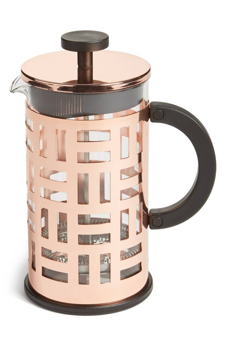 The{&amp;nbsp;}'Eileen' 8-Cup French Press from Nordstrom lends a stylish touch to the simple french press. This $50 press makes 8 cups of coffee and holds 32 oz of liquid. (Image: Nordstrom)<p></p>