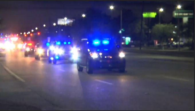Procession for slain Mobile Police officer Sean Tuder. (CBS Newspath)