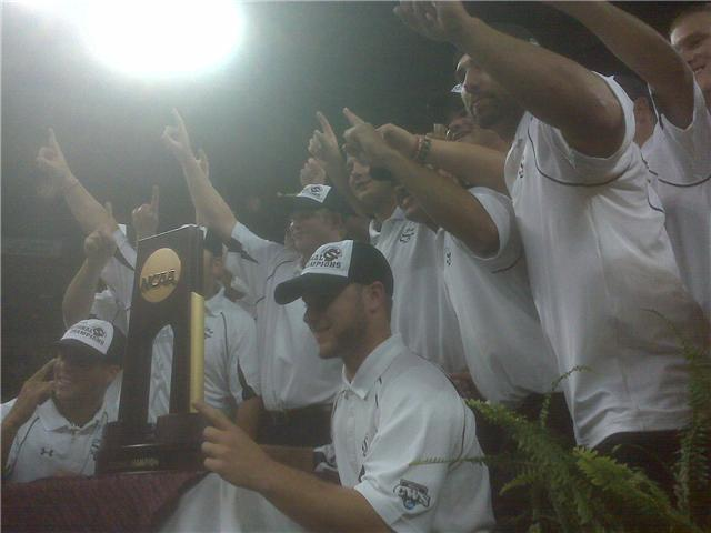 Gamecocks on stage proud of their first national title.