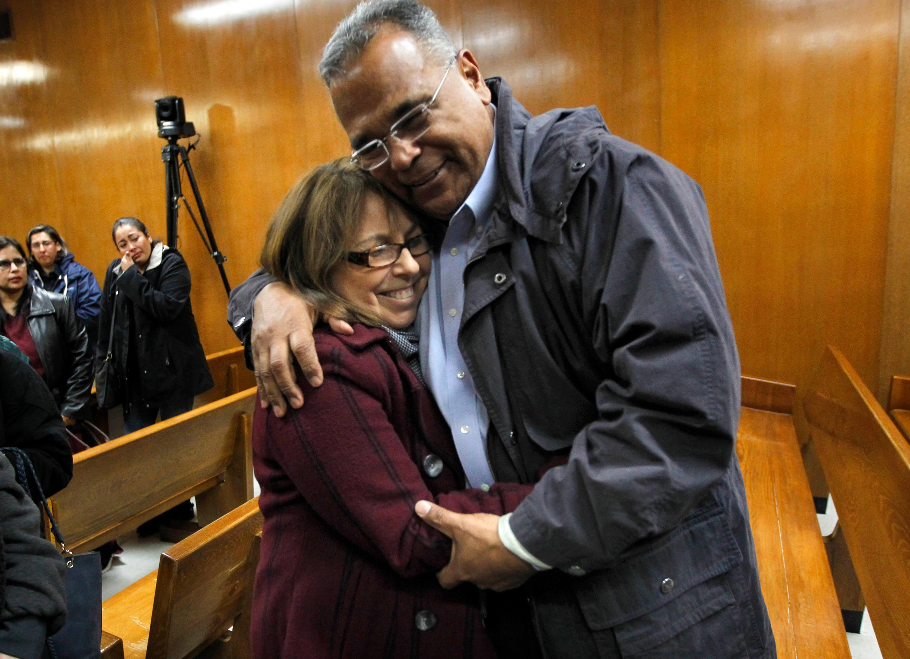Lynda de la Vi?a hugs McAllen Police Chief Victor Rodriguez following the guilty verdict in John Bernard Feit's trial for the 1960 murder of Irene Garza in the 92nd state District Court Thursday, December 7, 2017, at the Hidalgo County Courthouse in Edinburg. De la Vi?a is a relative of Irene Garza.  (Nathan Lambrecht/The Monitor/Pool)