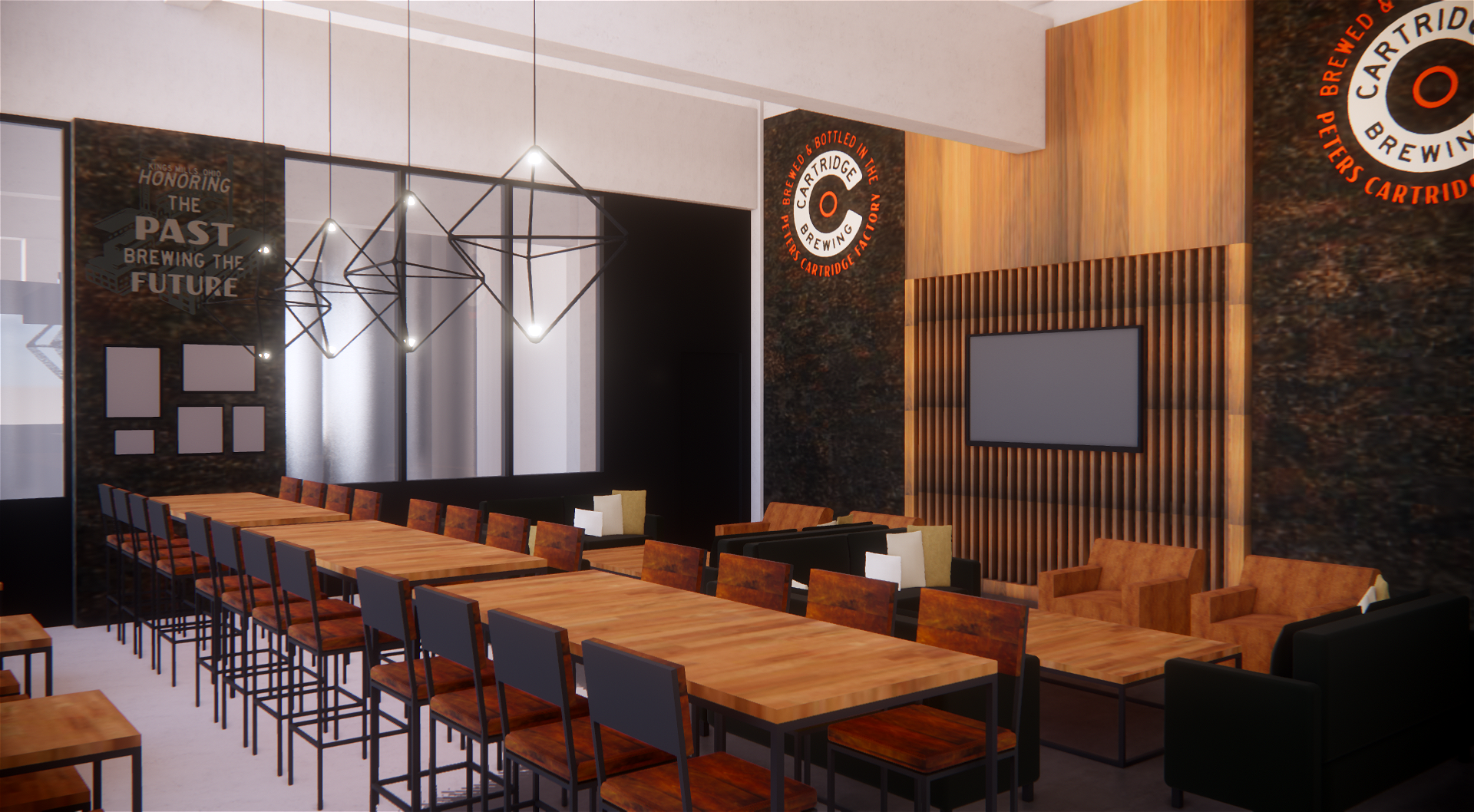 A rendering of Cartridge Brewing's taproom when it is completed / Image courtesy of Lindsey Hackbarth, co-founder of Cartridge Brewing // Published: 2.28.19