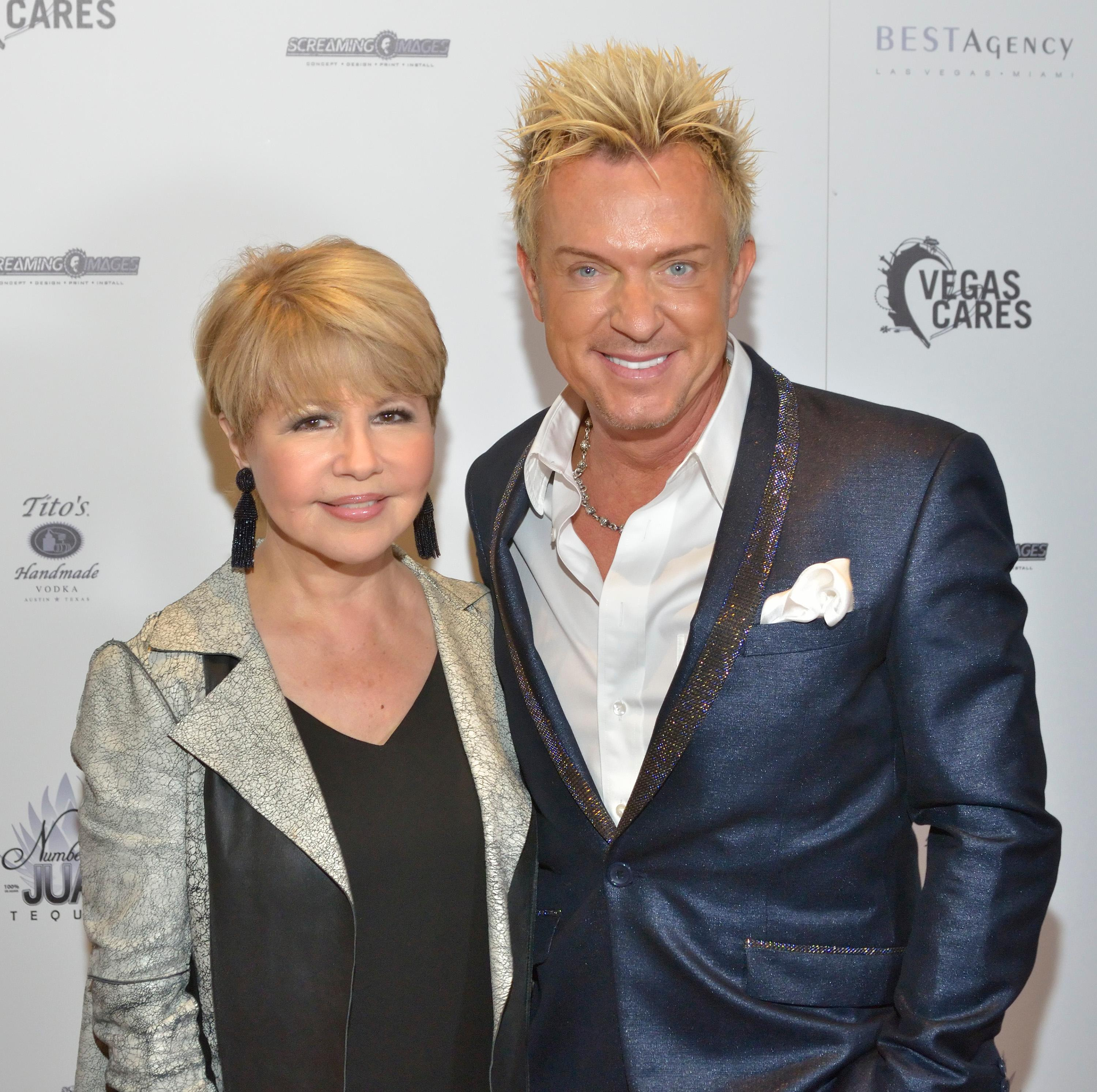 "Pia Zadora, left, and Chris Phillips of Zowie Bowie are shown at the ""Vegas Cares"" benefit concert at the Venetian Theatre in the Venetian hotel-casino at 3355 S. Las Vegas Blvd in Las Vegas on Sunday, Nov 5, 2017. The concert was sponsored by a group of Las Vegas entertainers, producers and business professionals to honor the victims and first responders from shooting at the Route 91 Harvest festival. (Photo/Las Vegas News Bureau/Bill Hughes)"