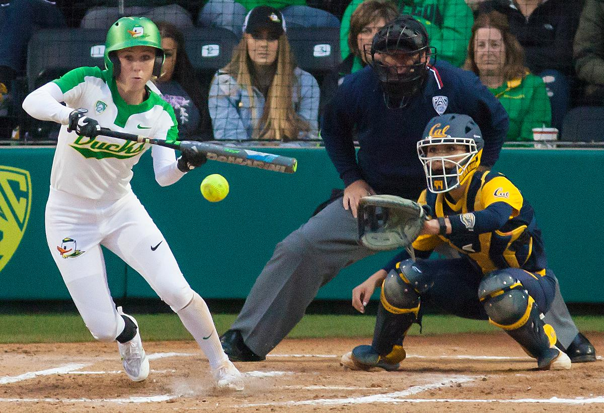 Oregon infielder Alexis Mack (#10) hits the ball for a single. In the first of a three game series the Oregon Ducks defeated the California Golden Bears five to one. Photo by Ben Lonergan, Oregon News Lab