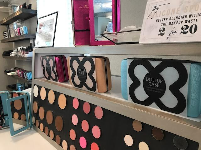 Dollup Beauty products on display in The Dostal House's retail showroom.