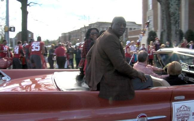 Alabama defensive line coach Chris Rumph during the BCS National Championship parade on Saturday, January 19, 2013.