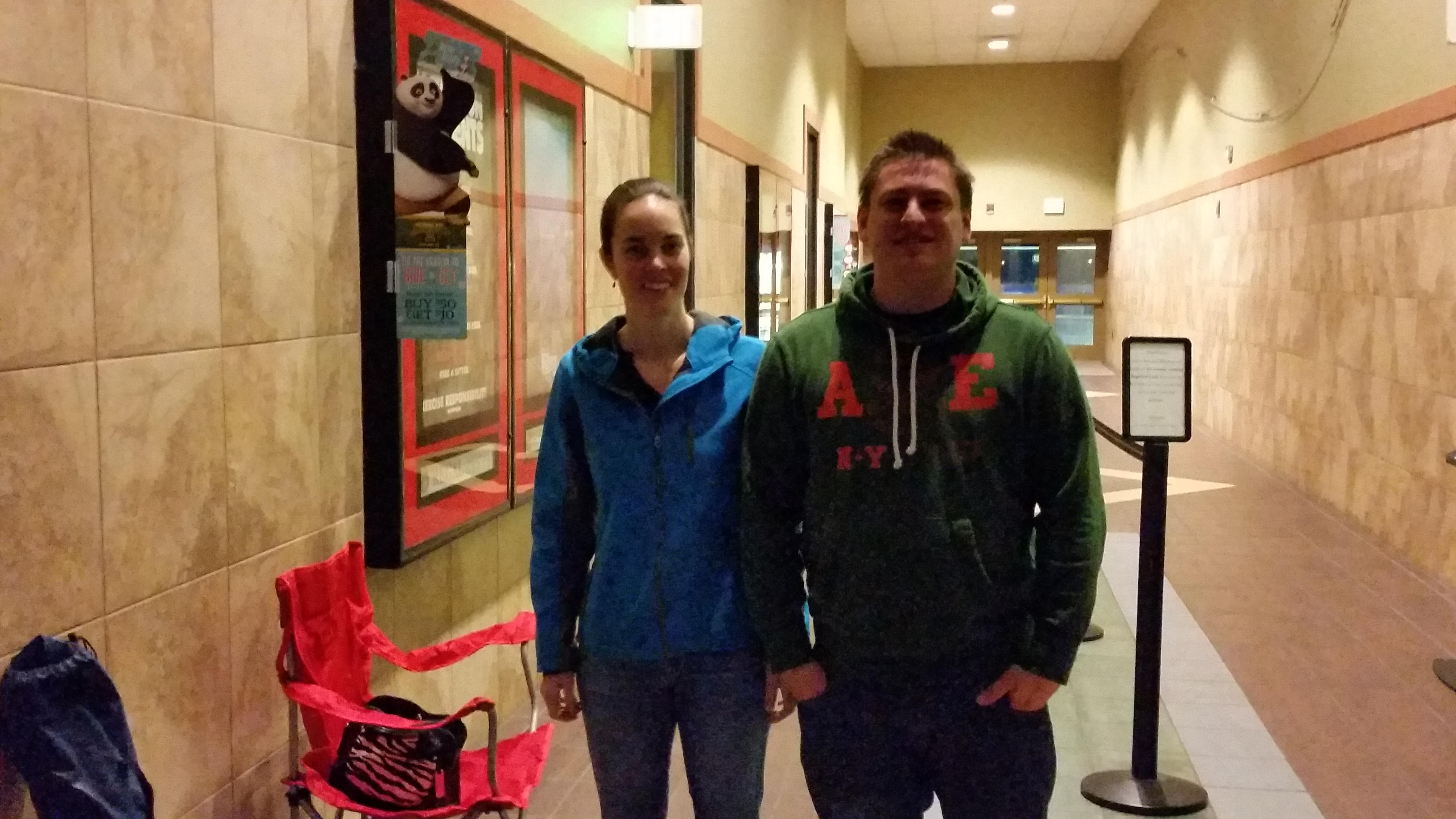 "Jen Lowry and Travis Will woke up at 5 a.m. and headed for Valley River Center to stand in line for the first showing of ""The Force Awakens"".  The fans were the first to line up when the mall opened at 6 a.m."