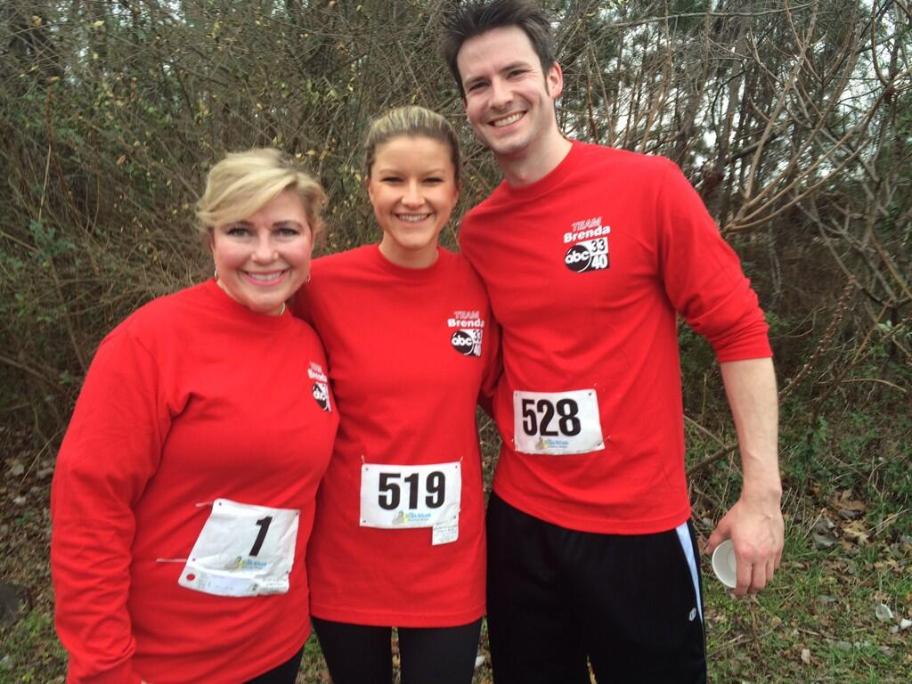 L-R:  Brenda Ladun, Sarah Snyder and Brian White at the 10th Annual Brenda Ladun Conquer Cancer Run, Saturday, March 1, 2014.