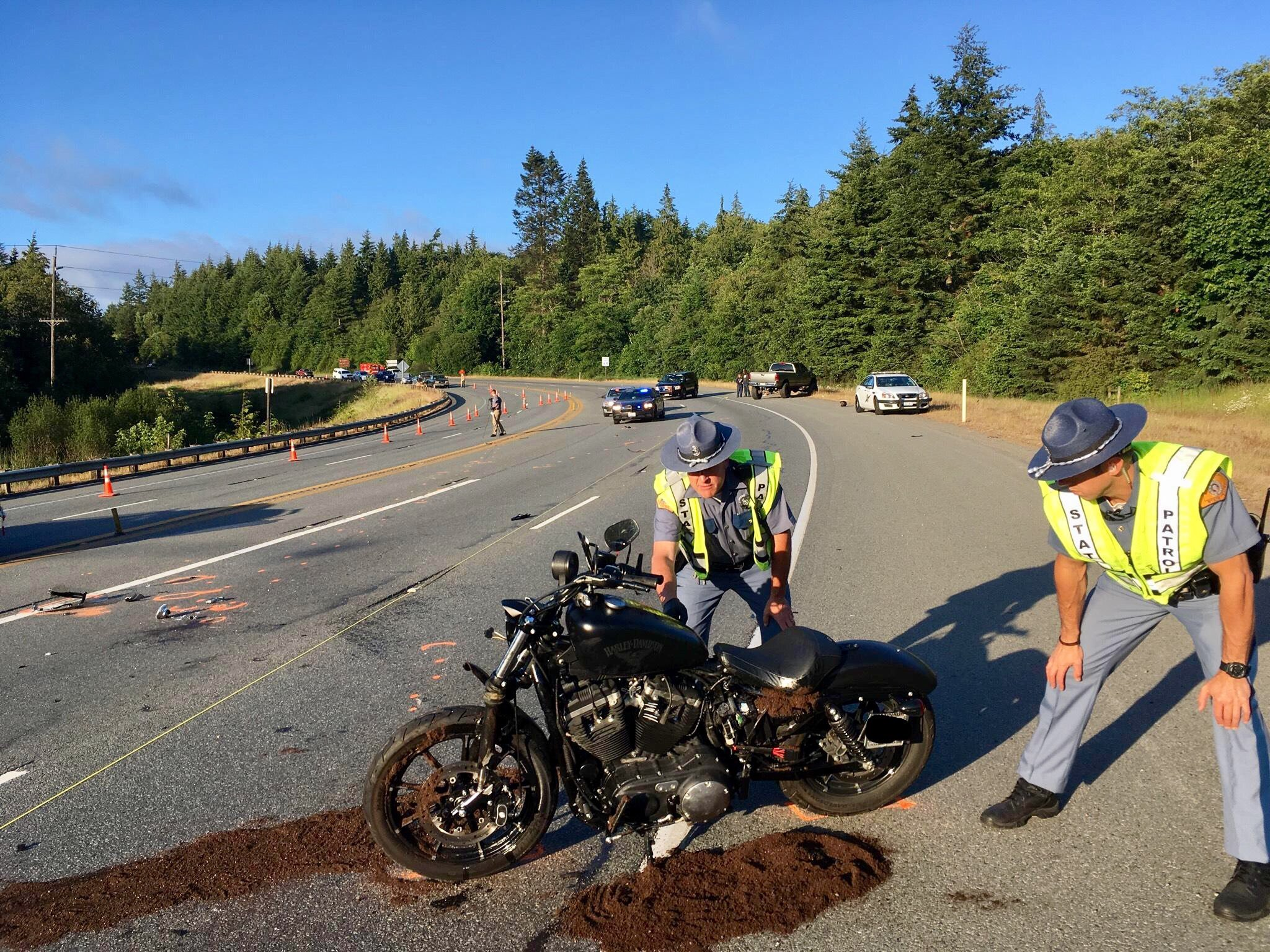 Troopers investigate a fatal motorcycle crash in Port Angeles (Washington{ } State Patrol Photo)