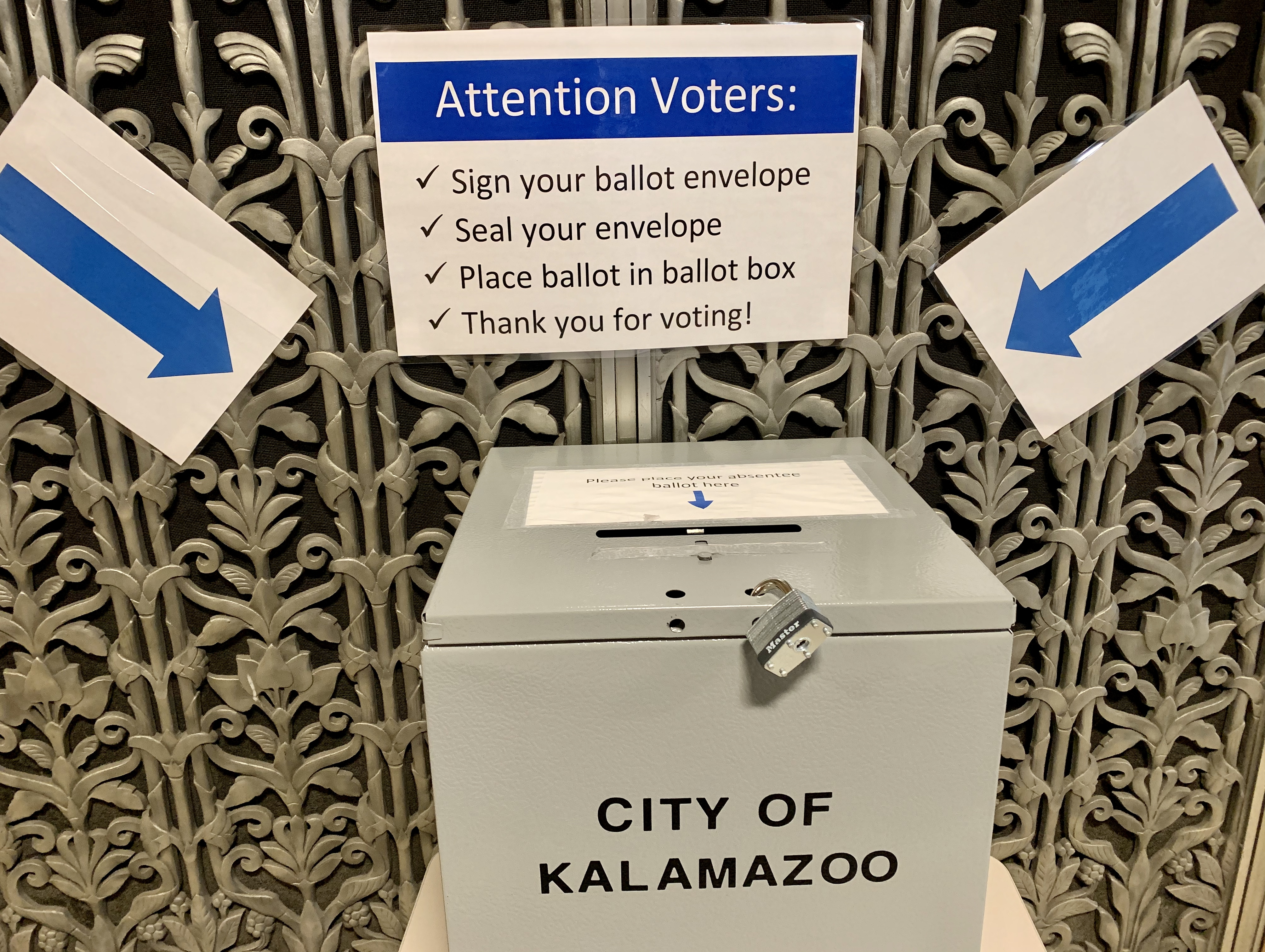 A drop-box for ballots awaits voters at the Kalamazoo City Hall during the Aug. 4, 2020 primary election in Michigan. A record number of Michigan voters have filed their decisions using absentee ballots for the primary. (WWMT/Hannah Knowles)