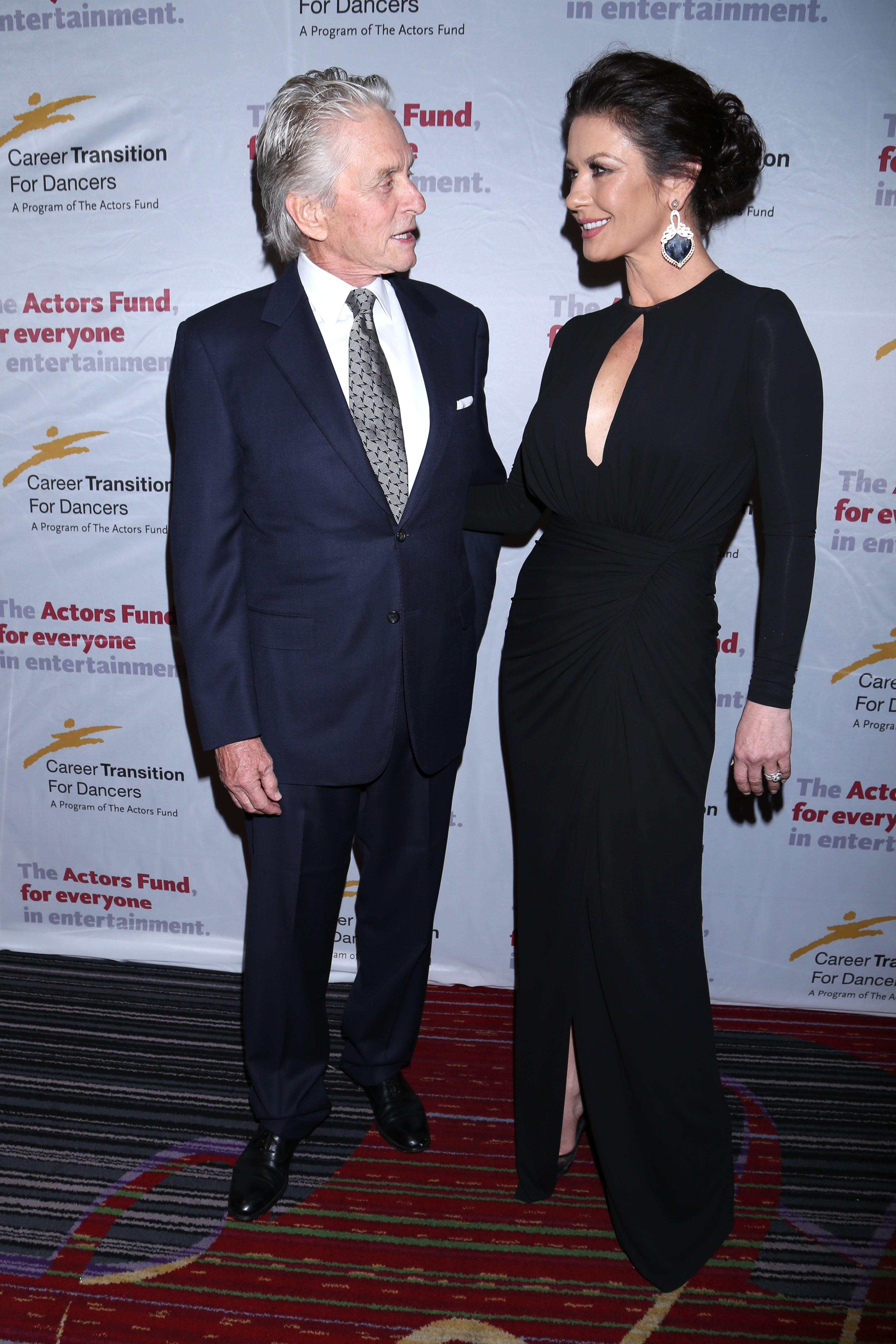 The Actors Fund's Career Transition for Dancers Jubilee Gala held at the Marriott Marquis Hotel - Arrivals.                                    Featuring: Michael Douglas, Catherine Zeta-Jones                  Where: New York, New York, United States                  When: 02 Nov 2017                  Credit: Joseph Marzullo/WENN.com                                    **No Contact Music**