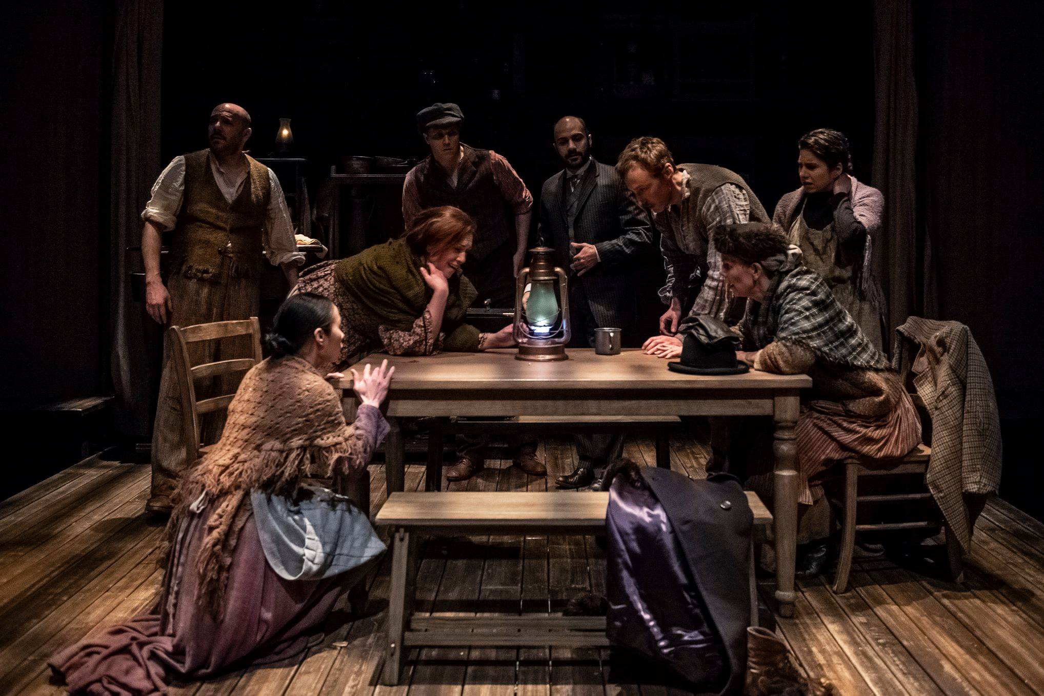 "The ensemble of ""Oil"" by Ella Hickson at Olney Theatre Center. (Image: Teresa Castracane Photography)"