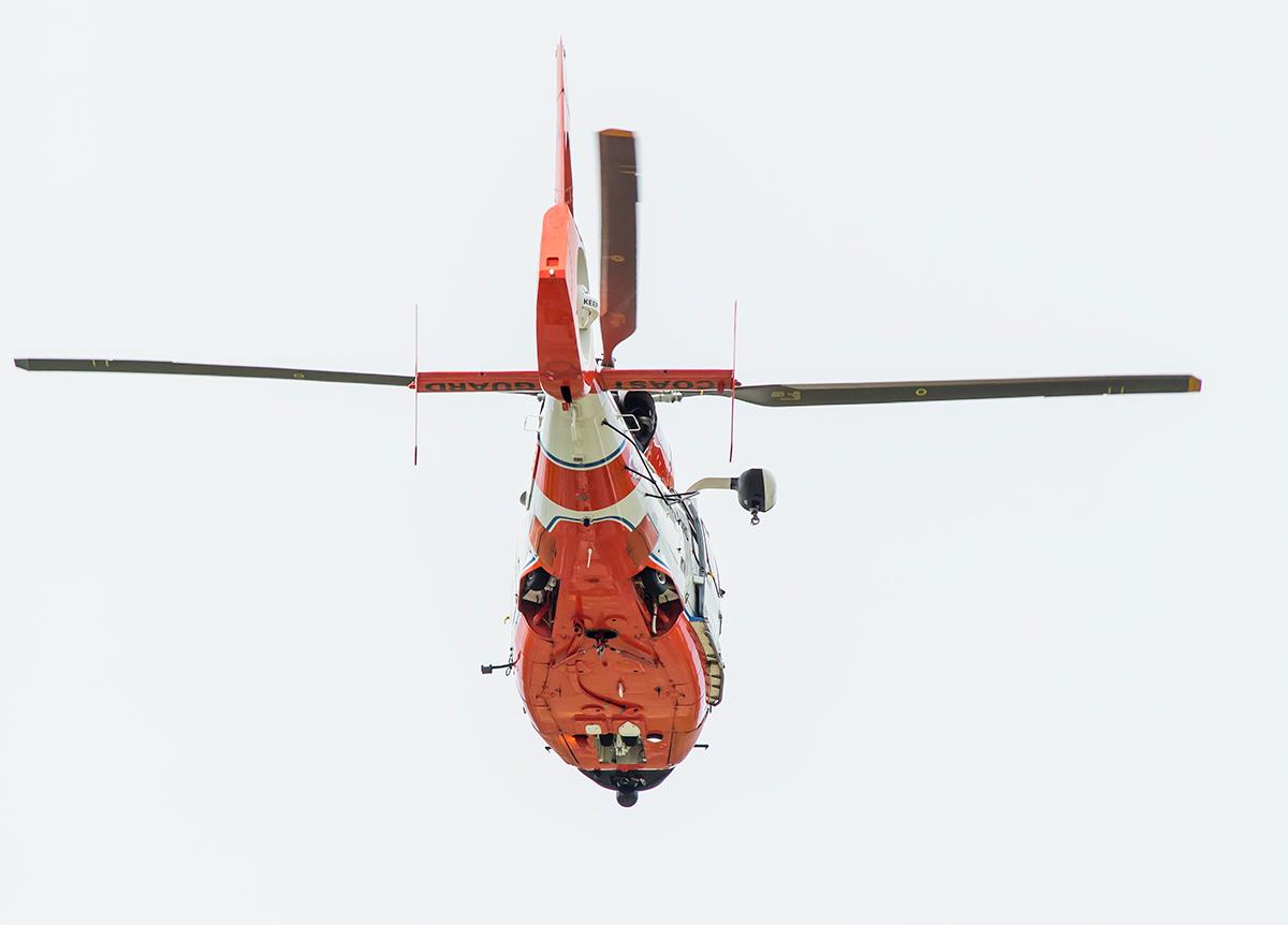 An United States Coast Guard helicopter performed a flyover during halftime. The 2017 Oregon Ducks Spring Game provided fans their first glimpse at the team under new Head Coach Willie Taggart's direction. Team Free defeated Team Brave 34-11 on a sunny dat at Autzen Stadium in Eugene, Oregon. Photo by Ben Lonergan, Oregon News Lab