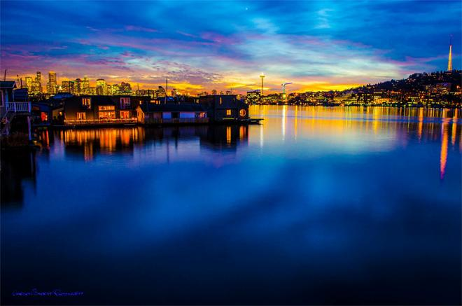 Lake Union Boat Houses at Sunset (Garson Shortt)