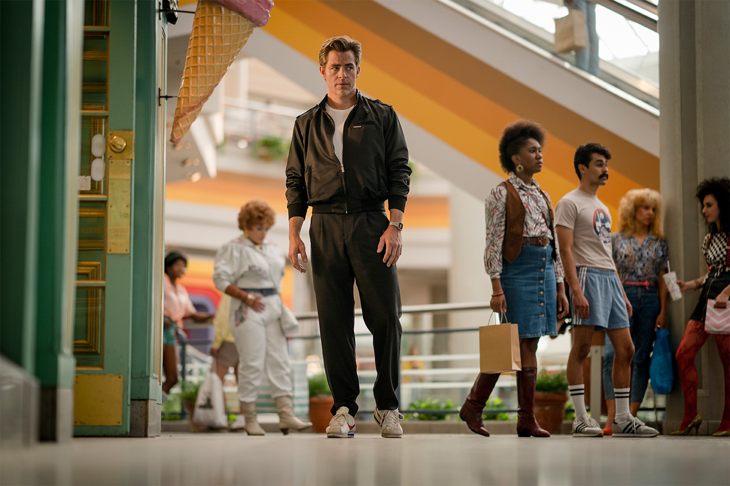 Filming is also slated to take place at the now defunct Landmark Mall in Alexandria, and the film's director tweeted this image on June 13 of Chris Pine in the mall. (Image: