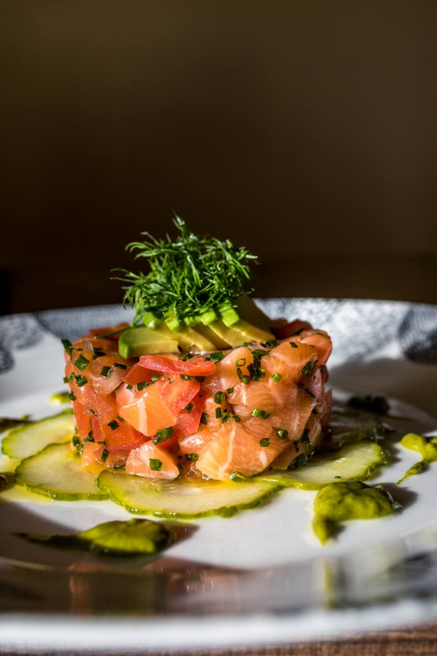 Salmon Toro: shallots, chive, tomato concasse, avocado, and lightly pickled cucumbers / Image: Catherine Viox // Published: 1.23.20