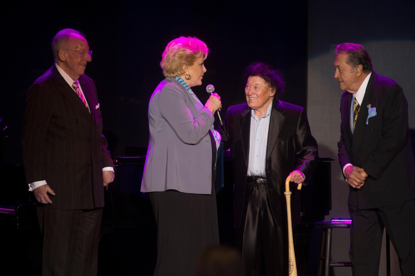 Las Vegas Mayor Carolyn Goodman and her husband former Las Vegas Mayor Oscar Goodman greet comedian Marty Allen during his 95th birthday show at the South Point Thursday, March 23, 2017. [Sam Morris/Las Vegas News Bureau]