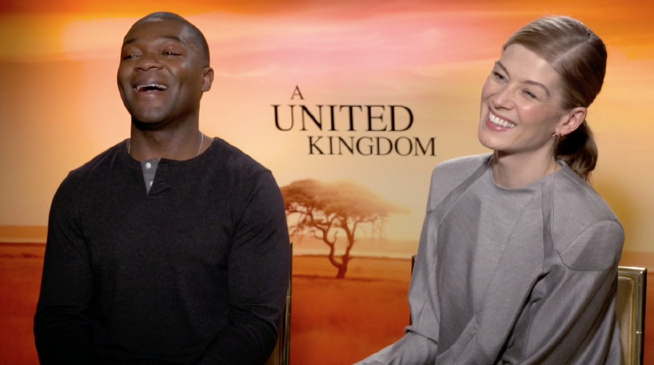 David Oyelowo and Rosamund Pike share laughs with KOMO's Scott Carty during their interview in New York City.