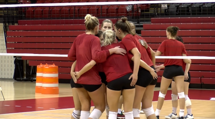 Nebraska volleyball congratulates one another after scoring a point during practice at the Bob Devaney Sports Center on April 20, 2017 (NTV News)
