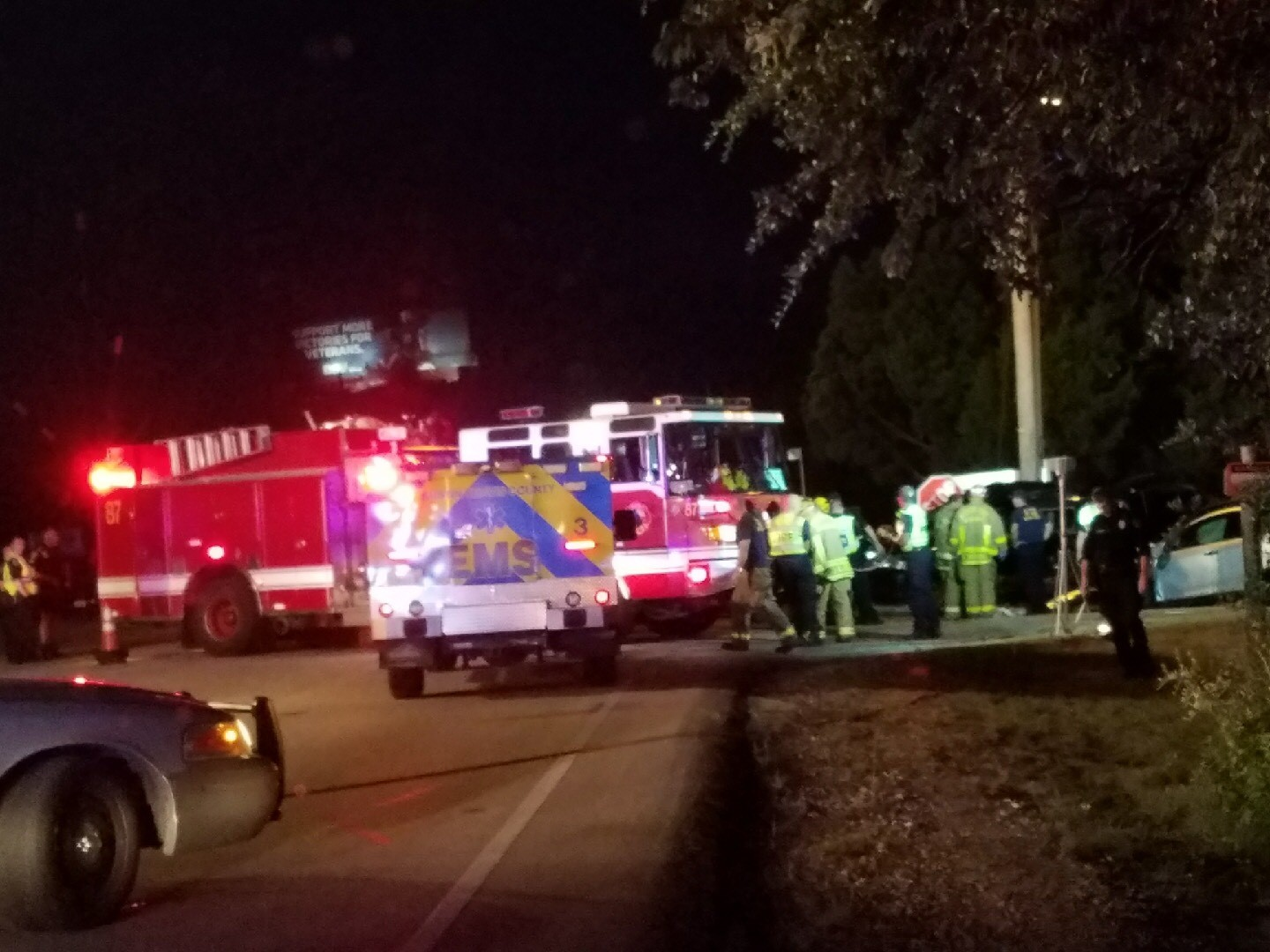 Two people were injured -- one of them critically -- in a traffic crash Thursday night in North Austin. (Photo courtesy: Marcos Carrillo)