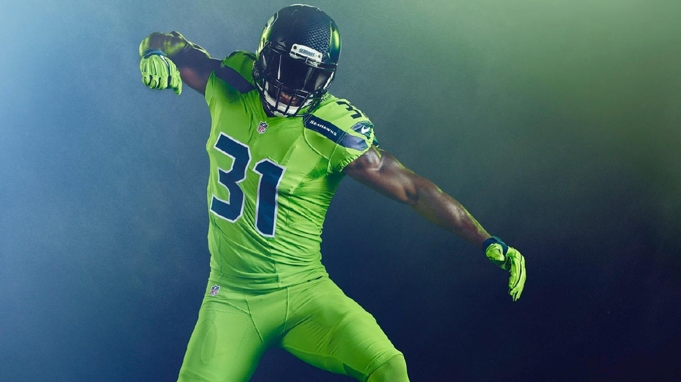 los angeles 4c2aa 1e8ec Check out the 'Action Green' uniforms the Seahawks will wear ...