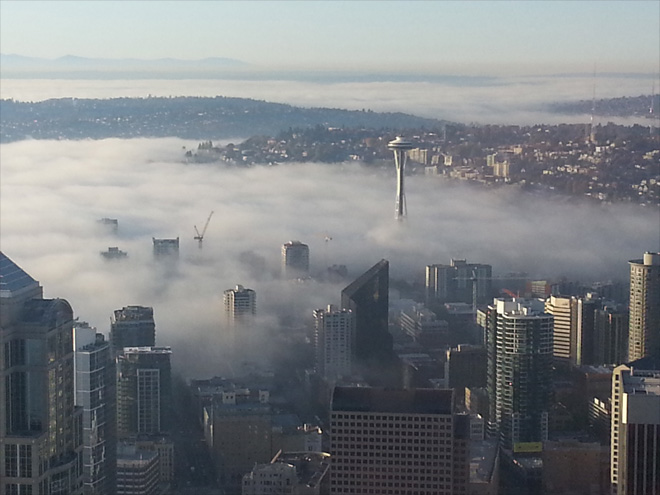 Fog over Seattle Photo courtesy YouNews contributor: nixter