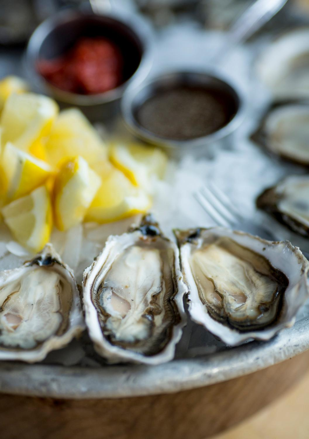 The Kumamoto oysters freshly shucked at Taylor Shellfish's retail shop overlooking Samish Bay, located at 2182 Chuckanut Dr, in Bow, Washington. You can try the tasty oysters at one of their oyster bars located in Queen Anne, Capitol Hill, Pioneer Square, or Bellevue. (Sy Bean / Seattle Refined)