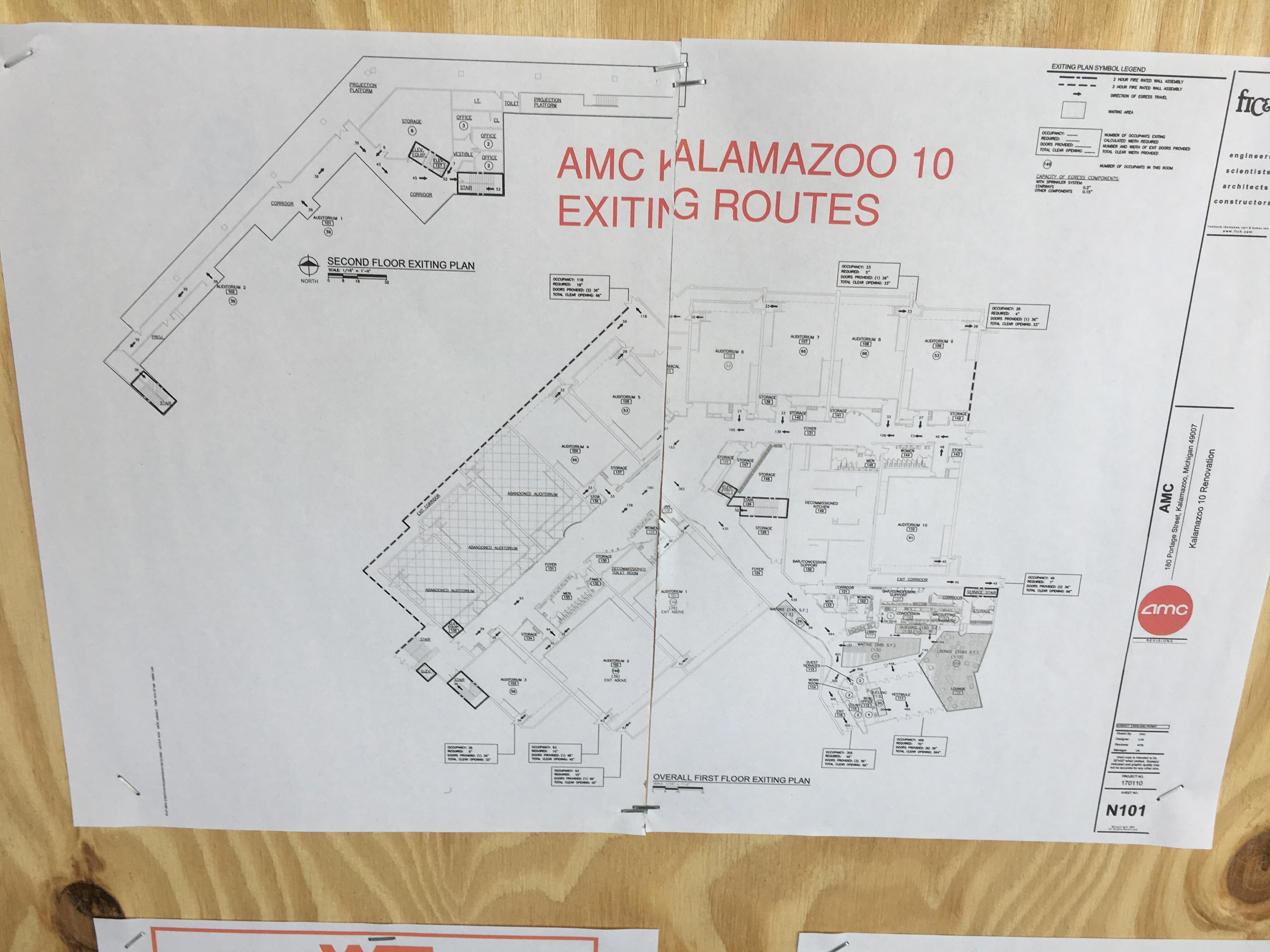 Blueprints for the remodeling of the former Alamo Drafthouse indicate that an AMC Theater will be the building's next occupant. (JASON PUHR/WWMT)