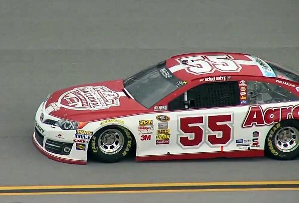 Sprint Cup driver Michael Waltrip in the Aaron's Toyota Alabama Crimson Tide car during practice at Talladega Superspeedway Friday, May 3, 2013.