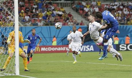 Italy's Mario Balotelli was left unmarked at the far post in the 50th minute, giving him plenty of space to head a cross from Antonio Candreva past goalkeeper Joe Hart for the winning goal.