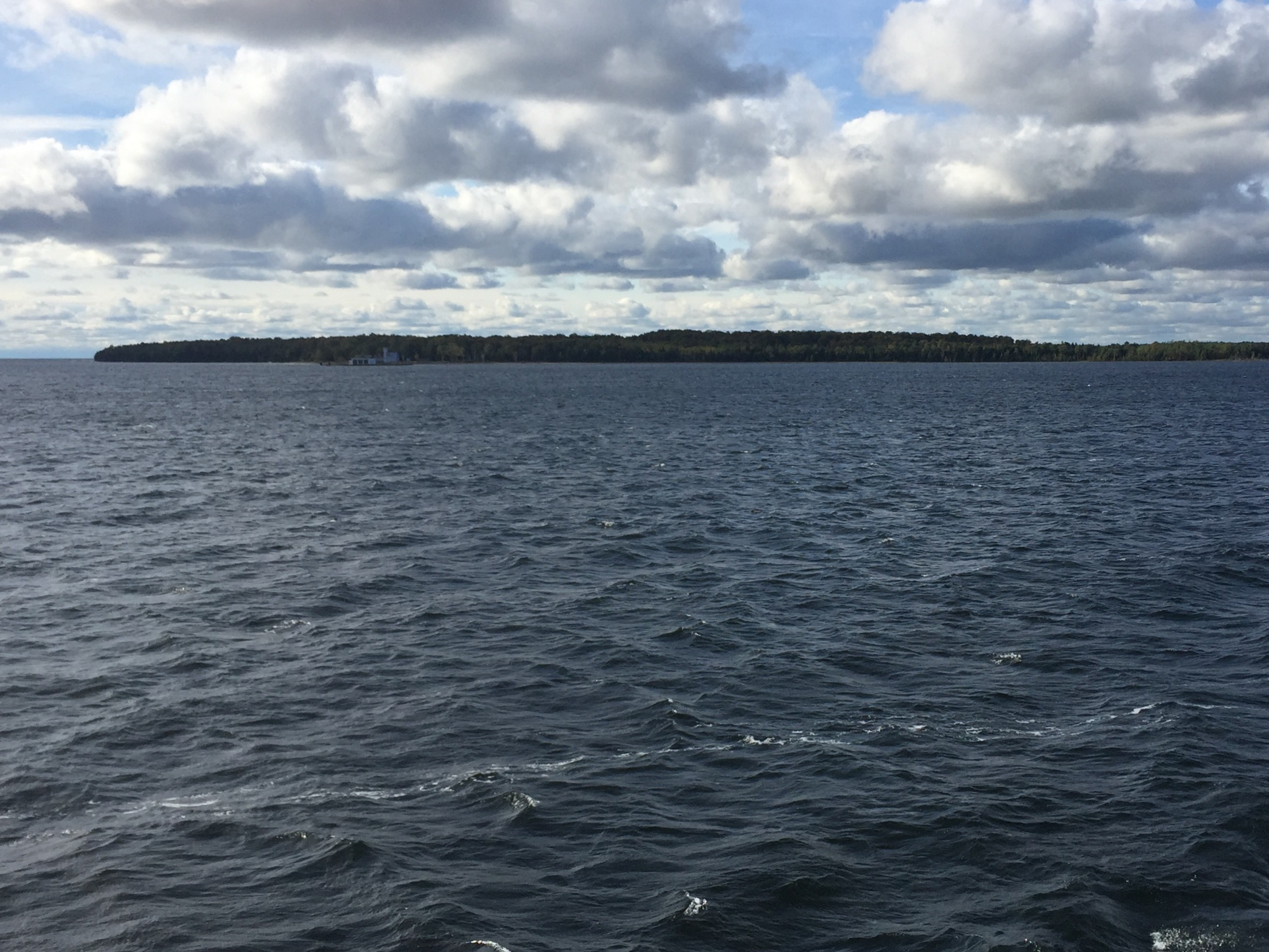 A view of Plum Island from the Washington Island Ferry, Oct. 11, 2017. (WLUK/Eric Peterson)
