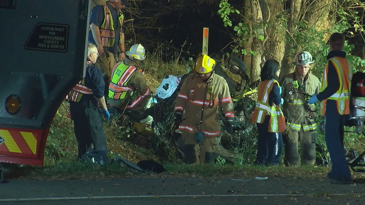 Police: Man, woman killed after car runs off road, crashes into tree in Md. (ABC7)