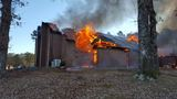 Firefighters battle church fire in Nashville, Ark.