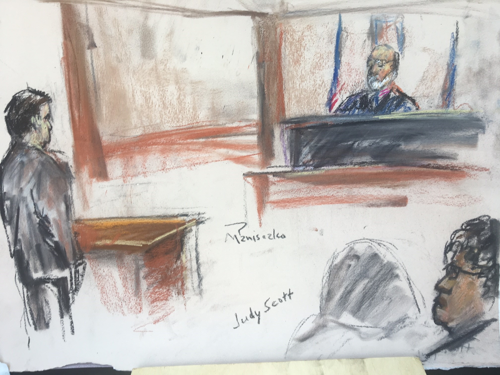 This is a sketch from the federal hearing Tuesday in Charleston.