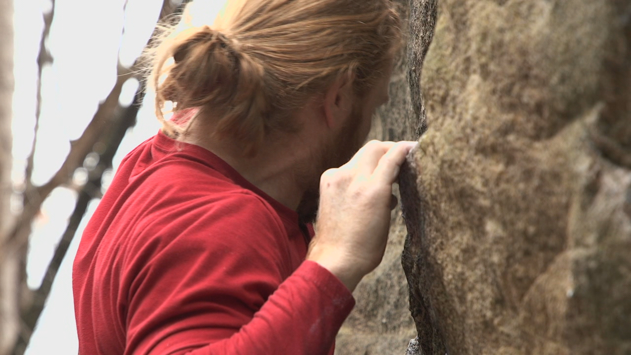 News 13 photojournalist Joshua Luckadoo takes us up the mountain in tonight's Carolina Moment for an inside look at the climbing competition on Rumbling Bald. (Photo credit: WLOS staff)