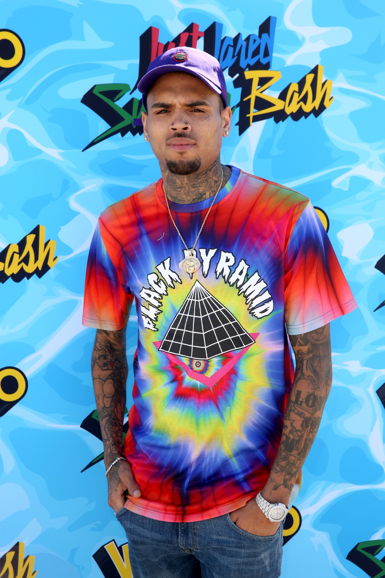 Chris Brown arrives at the Just Jared 4th Annual Summer Bash presented by Uno on Saturday, Aug. 13, 2016, in Beverly Hills, Calif. (Photo by Matt Sayles/Invision for Just Jared/AP Images)