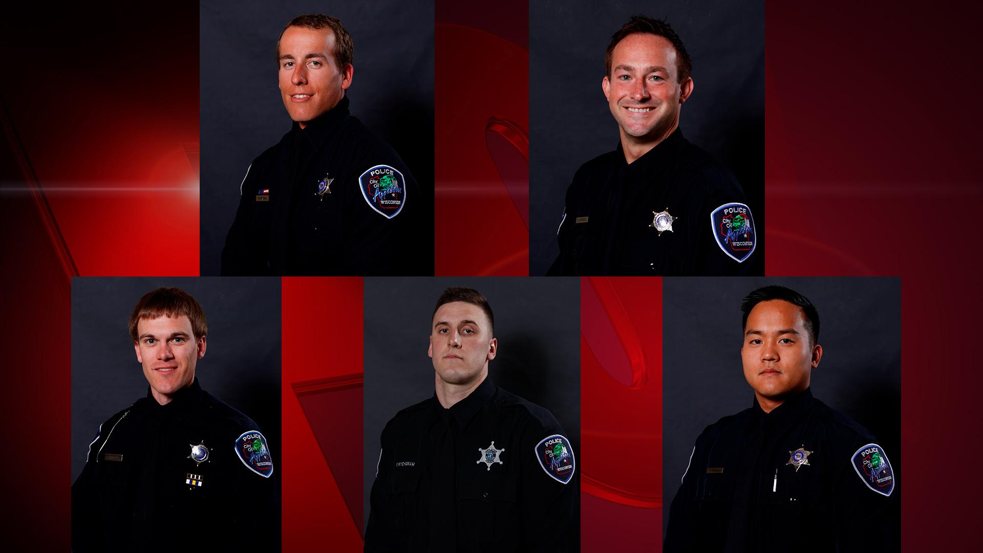 Top row, L-R, Nathan Hoffman and Brandon Schnese. Bottom row, L-R, Ryan Schroeder, Frank Wychgram and Thomas Zieman. (Photos courtesy of Appleton Police Department)