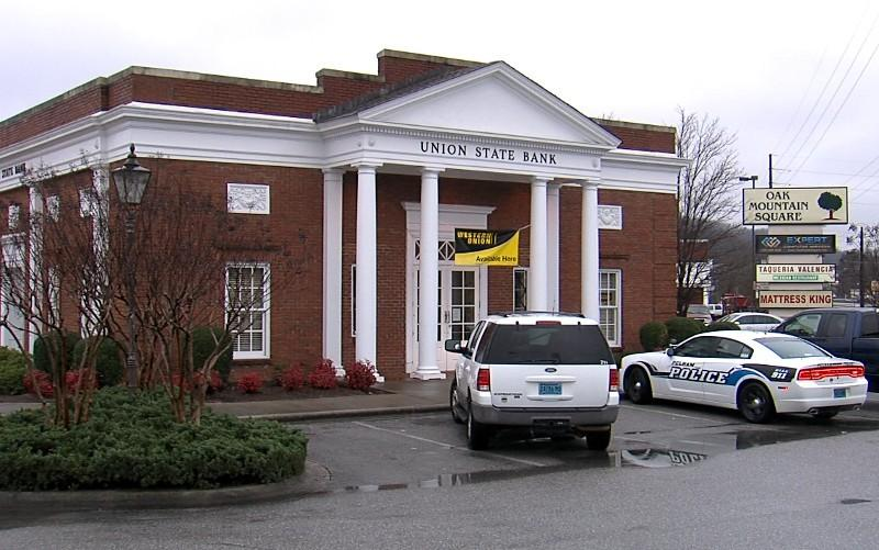 Union State Bank robbery in Pelham on Monday, January 14, 2013.