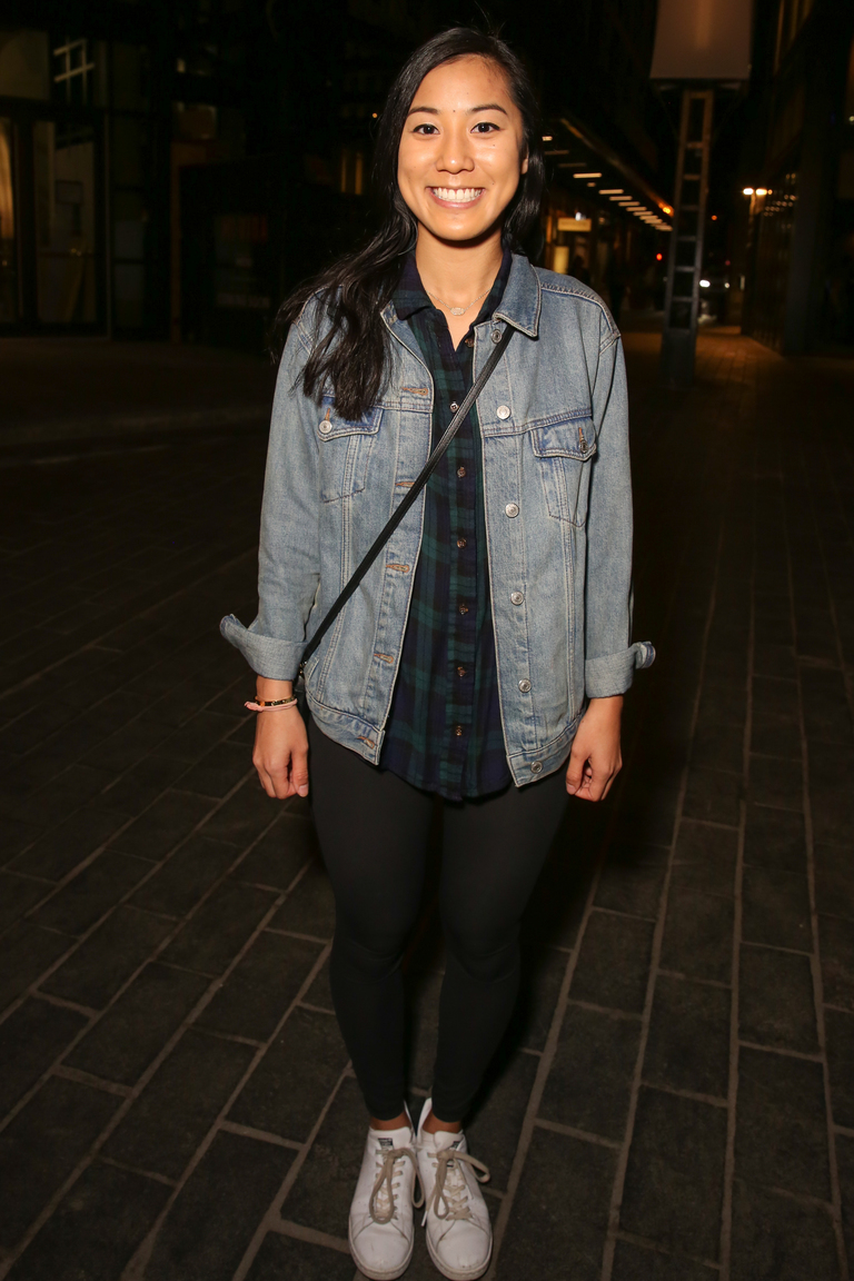 Tammy Vo is rocking a flannel, jean jacket and leggings. Why mess with a classic?{&amp;nbsp;}(Amanda Andrade-Rhoades/DC Refined)<p></p>