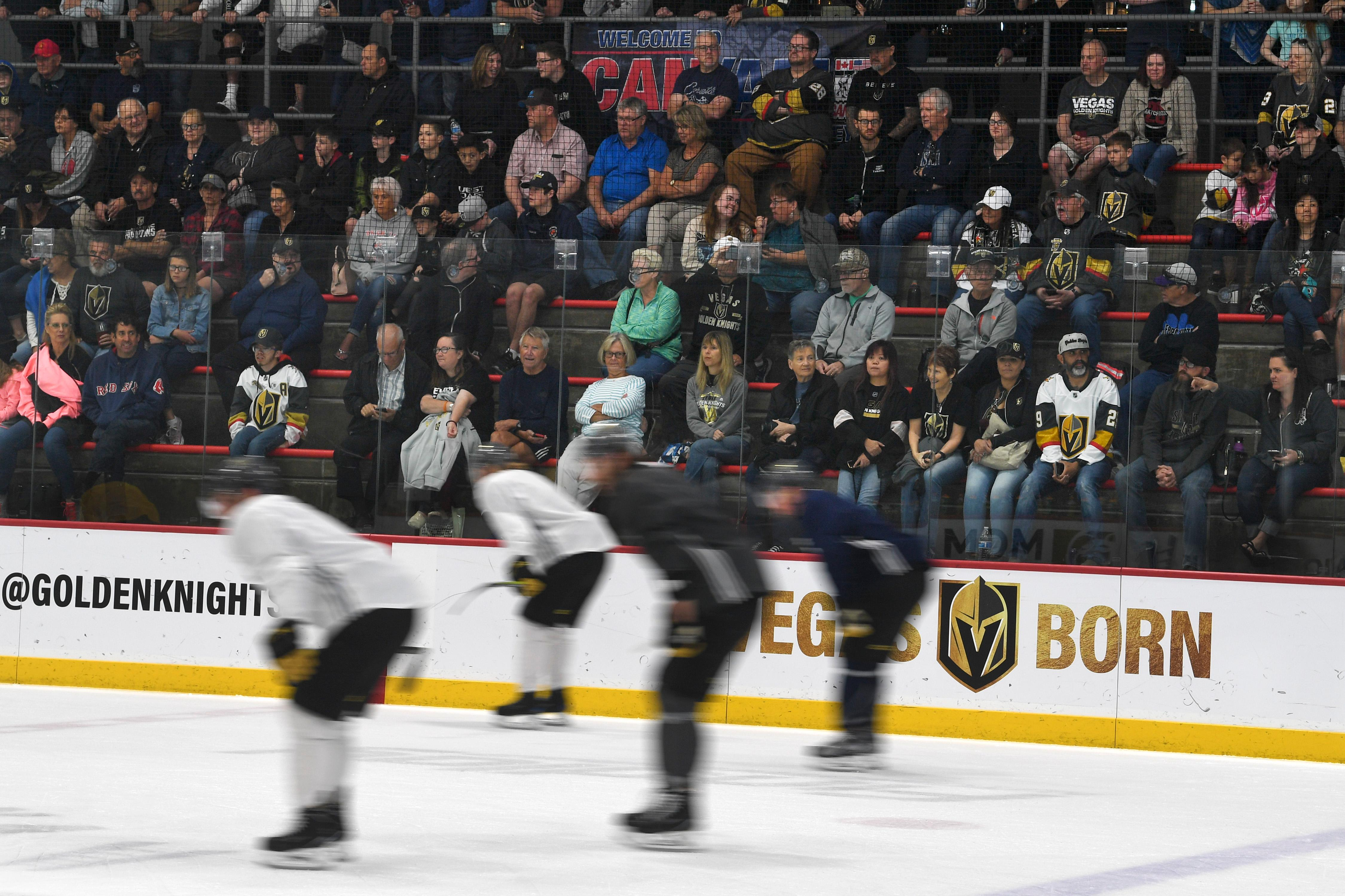 Fans watch players skate during the Vegas Golden Knights practice Friday, April 20, 2018, at City National Arena in Las Vegas. CREDIT: Sam Morris/Las Vegas News Bureau