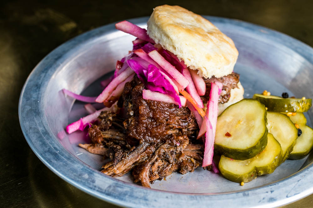 The Sutter's Mill: BBQ short rib, apple slaw, house pickles, and Boomtown BBQ sauce{ }/ Image: Amy Elisabeth Spasoff // Published: 4.2.18