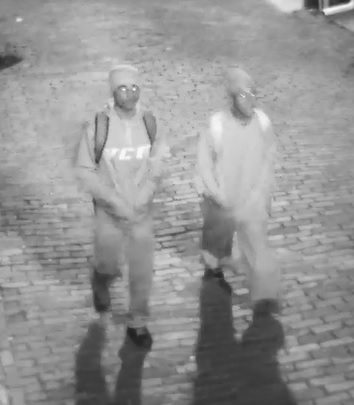 <p>Police say both men are in their 20s, wearing all black clothing, black hats and carrying back packs. One person was wearing a sweatshirt that had YCU printed on the front, the release said (Credit: SCMPD)</p>