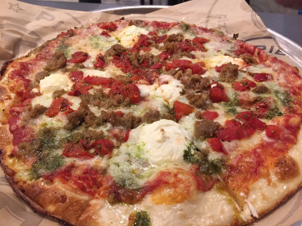 The custom meatball, ricotta cheese, roasted red pepper with a drizzle of pesto pizza (Dave Williams/WCIV)