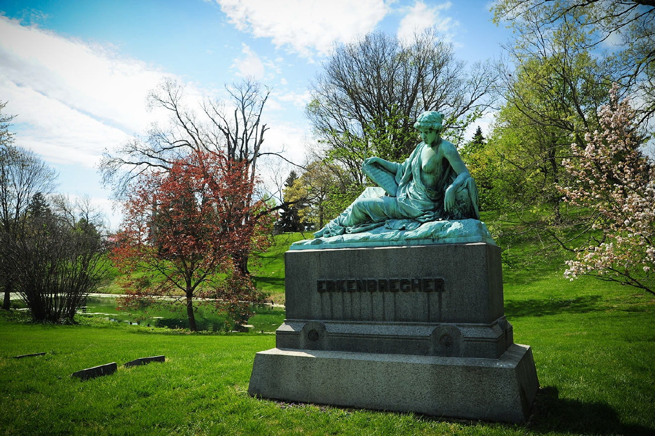 The Erkenbrecher family monument, near Spring Grove's Cascade Lake. (Andrew Erkenbrecher was the founder of the Cincinnati Zoo.) / Image: Melissa Doss Sliney