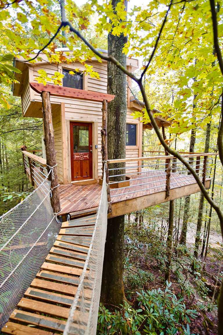Canopy Crew builds tree houses all around North America. Some have glass ceilings and walls, others have hot tubs and slides. When it comes to gamping, Canopy Crew delivers. / Image courtesy of Canopy Crew // Published: 7.18.18
