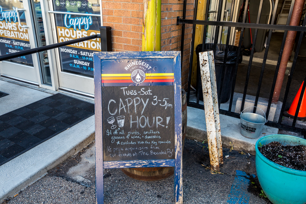 "It's open Monday through Saturday from 9 AM to 11 PM, and Sunday from 11 AM to 10 PM. Their ""Cappy Hour"" is Tuesday through Saturday from 3 to 5 PM. / Image: Catherine Viox // Published: 7.19.19"
