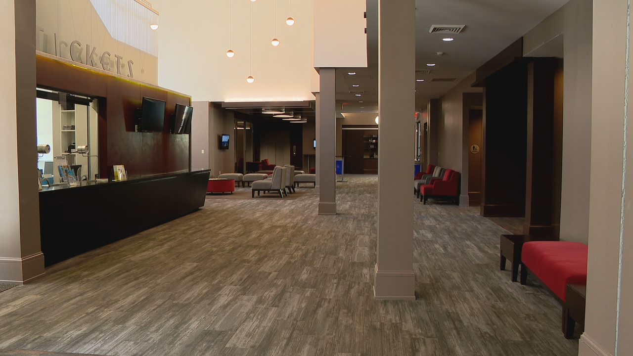 Renovations and expansions at Wortham Center for the Performing Arts include reupholstered seats, new carpeting and upgraded lighting and sound. (Photo credit: WLOS staff)