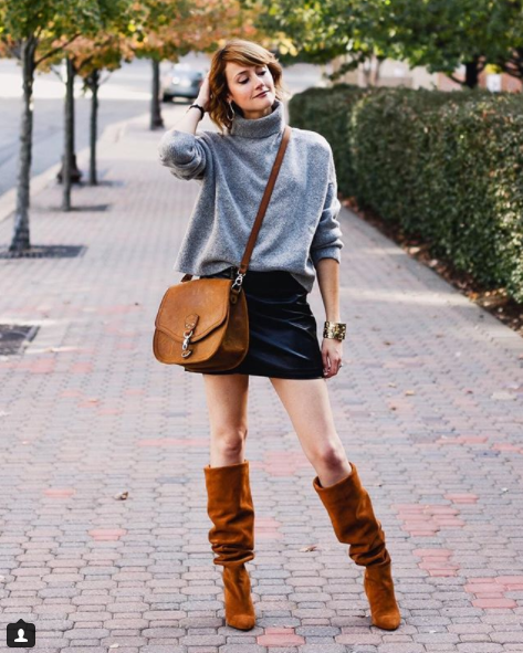 We've been keeping tabs on this blogger practically since the day she started, and while her style has evolved over the years, we are still massive fans of the simple, chic, classic looks she constructs, like this sweater, mini skirt, slouchy boot look she's rocking here. (Image: Courtesy IG user @districtofchic/ www.instagram.com/districtofchic/)<p></p>