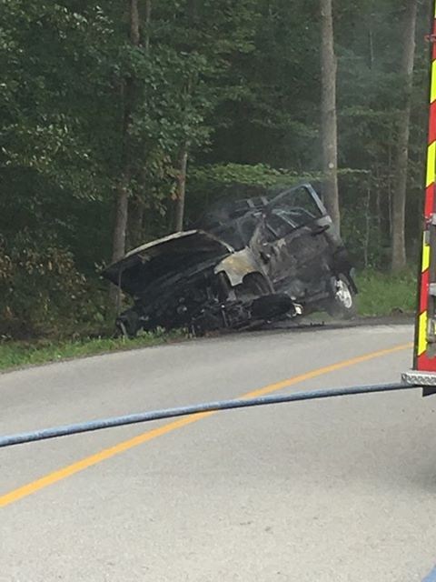 A man  died in a fiery crash involving a motorcycle and SUV Tuesday morning in Somerset County. (Photo submitted)