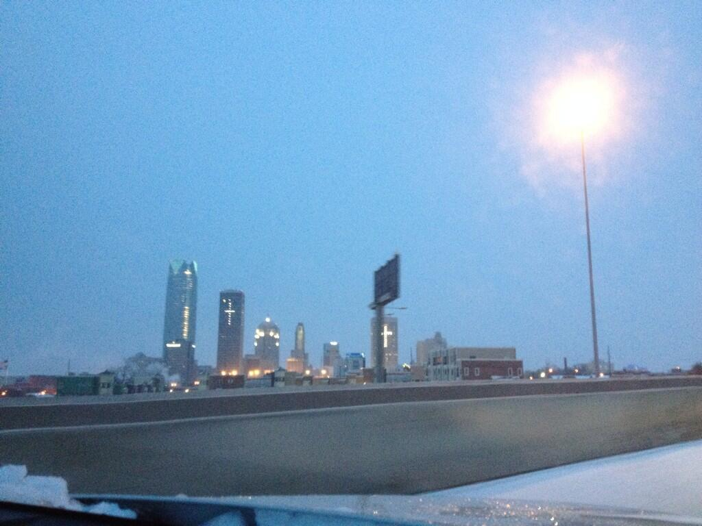The view of downtown OKC from I235 at 6:45 Friday morning.